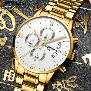 Image 3 - NIBOSI Relogio Masculino bir Prova D gua Grande saatler erkekler lüks marka tam çelik kuvars saatler erkek deri kronograf saat