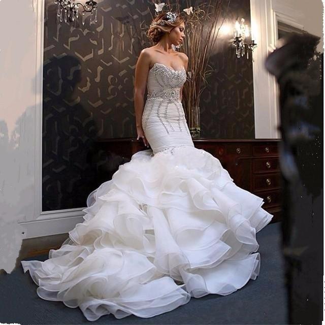 Кристалл Бисера Органзы Свадебные Платья Sexy Милая С Плеча Русалка Свадебные Платья 2017 Оборками Белый Casamento MB181