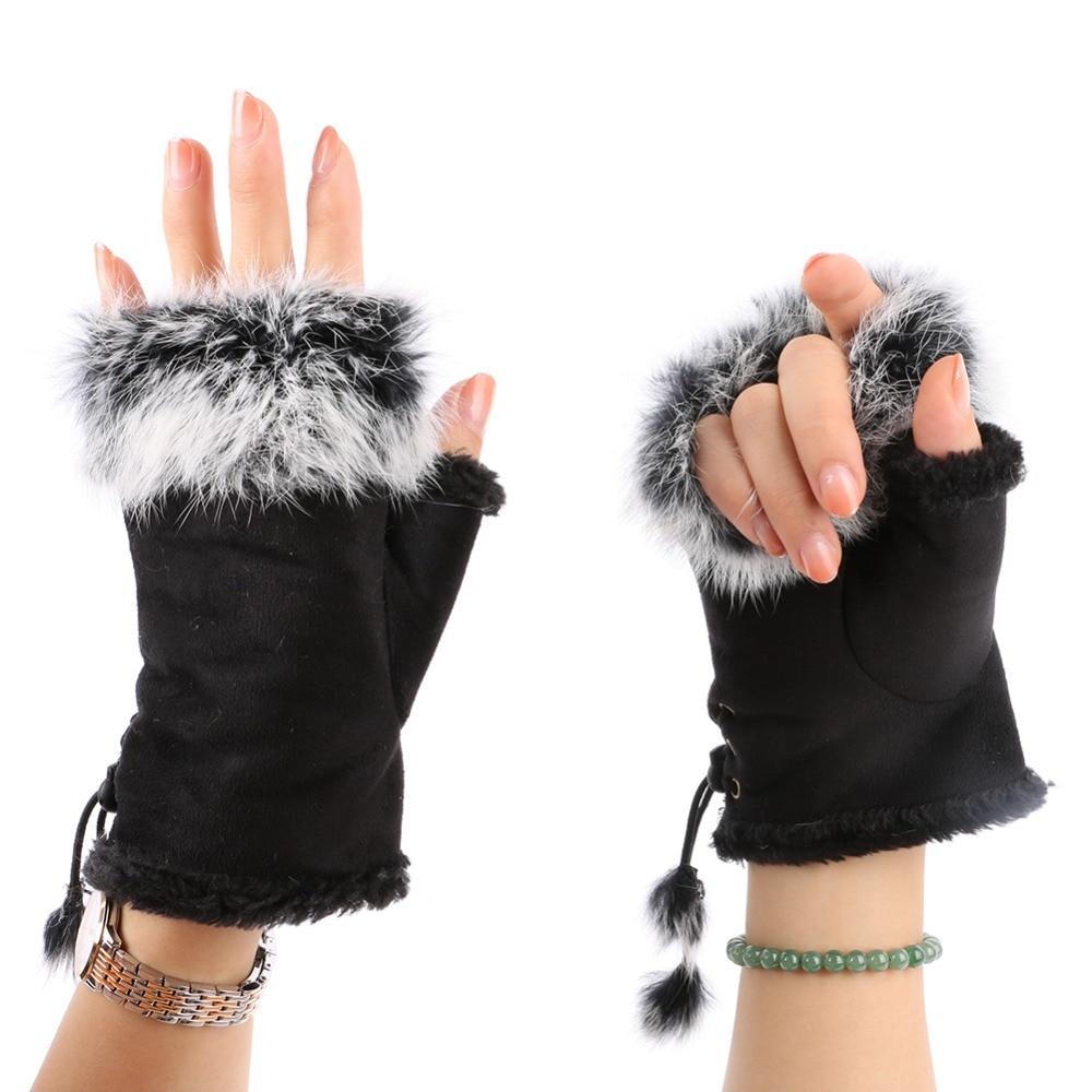 Fashion Women's Faux Rabbit Fur Hand Wrist Warmer Half Finger Gloves Winter Glove 13 Colors