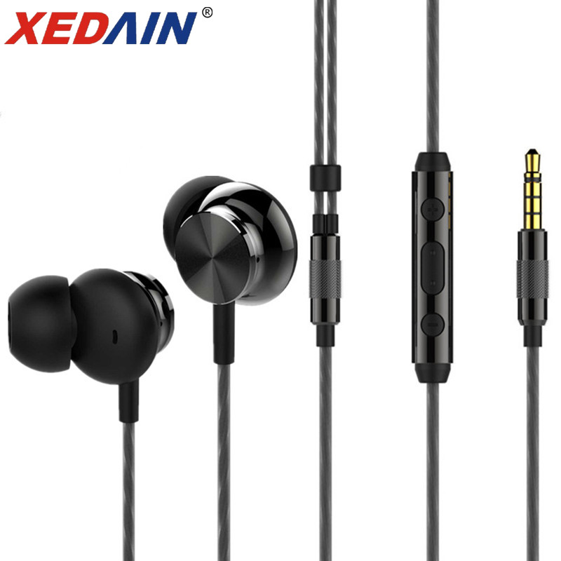 XEDAIN Metal Earphone Bass Gaming Headset In-Ear Stereo Earbuds with Mic fone volume Phone Earphones for iphone Android devices misr t3 wired earphone metal in ear headset magnet for phone with mic microphone stereo bass earbuds