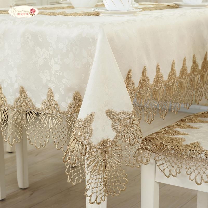 Orgulloso Rose Europea Tela de Tabla de Encaje Bordado Cubierta de - Textiles para el hogar