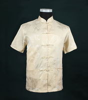 Beige New Traditional Chinese Men's Silk Satin Kung Fu Shirt Top Short-sleeve Tang Suit Size S M L XL XXL XXXL LD34