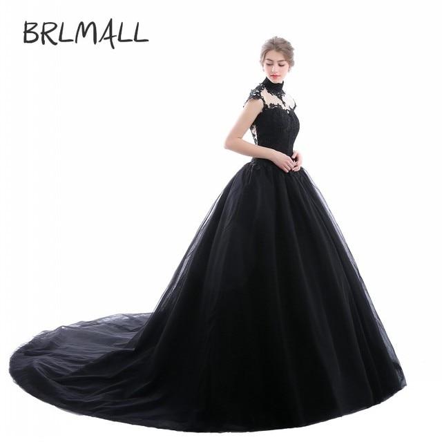 BRLMALL Women s High Neck Goth Style Wedding Dresses Plus Size Tulle  Applique vestido de noiva Bridal d7b14cf0a0ce