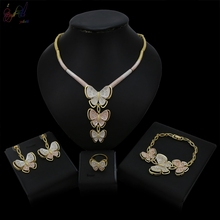 Yulaili Latest Arrival Top Quality Tricolor Butterfly Pendant Necklace Earrings Bracelet Ring Dubai Gold Jewelry Sets For Women