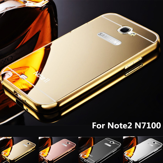 quality design ca529 238a2 US $6.99 |For Samsung Note2 Case Gold Color Matel Frame Mirror Back Plate  Luxury Case Phone Case Cover For Samsung Galaxy Note 2 N7100 on ...
