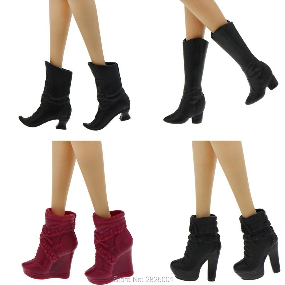 Black dress red heels accessories - 4 Pairs Fashion High Heels Boots Black Dark Red Elegance Dinner Party Daily Wear Mixed Shoes