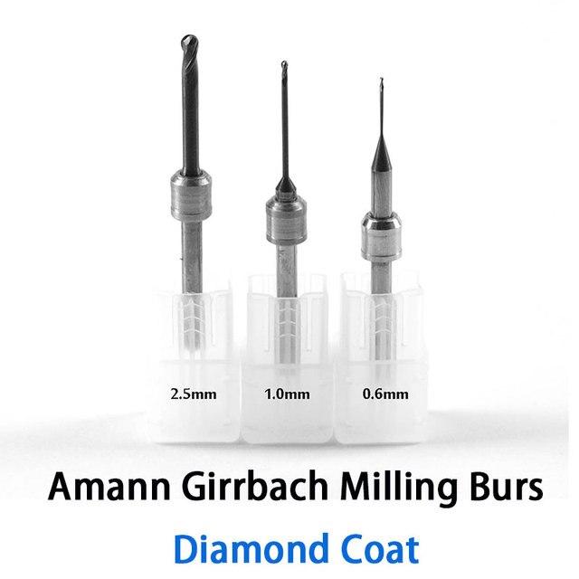 DC Diamond Coat 0.6mm, 1.0mm, 2.5mm Amann Girrbach Ceramill Milling Burs High Qualtiy