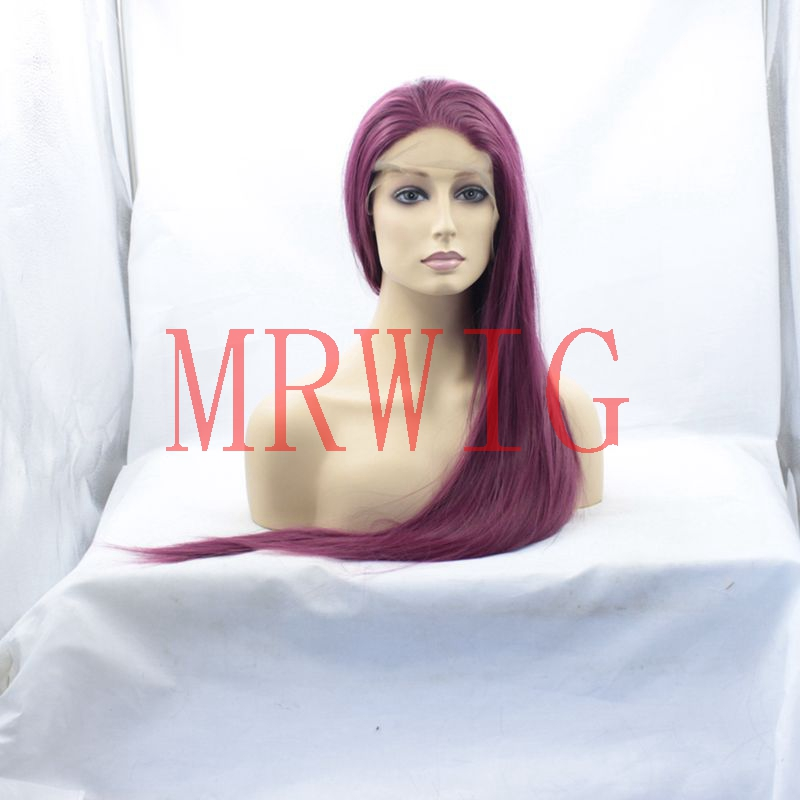 MRWIG Free Parts 26inch real hair glueless front wig dark wine #2030 silky straight heat resistant fiber for lady woman