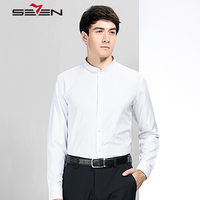 Seven7 Brand Business Casual Shirts Long Sleeve Mandarin Collar Casual Shirts Chinese Style Pattern Embroidery Shirt