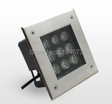 ФОТО 10pc/lot Free Shipping Promotion AC85-265V Waterproof High Power 9*1W LED Square Lamp Garden Underground Light