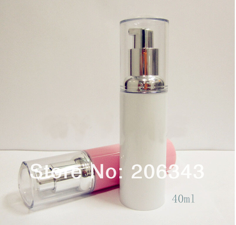 40ml Pink Amp Wite Airless Bottle Or Plastic Lotion Bottle