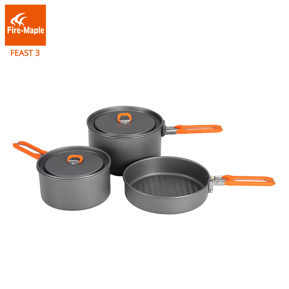 Fire Maple Feast 3 Outdoor Camping Hiking Cookware Backpacking Cooking Picnic Pot Pan Set Foldable Handle 2 Pots 1 Frypan FMC-F3 fire maple fmc td3 camping titanium pot set ultralight 1 2 person outdoor picnic cooking cookware pot frying pan 174g