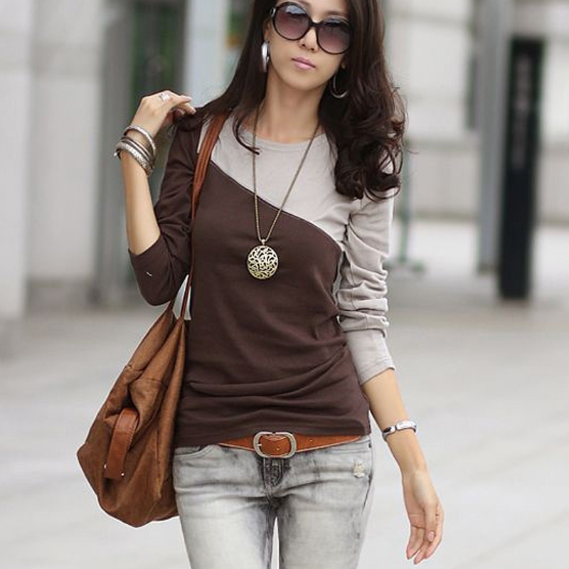 Newly Women Autumn Long Sleeve Colorblock T-shirt Slim Fit Round Neck Tops DO99
