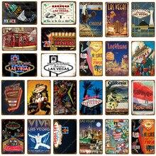 Hoş geldiniz muhteşem Las Vegas Metal tabela Vintage duvar plak amerikan seyahat posteri Bar Pub kulüp dekoru demir sanat boyama