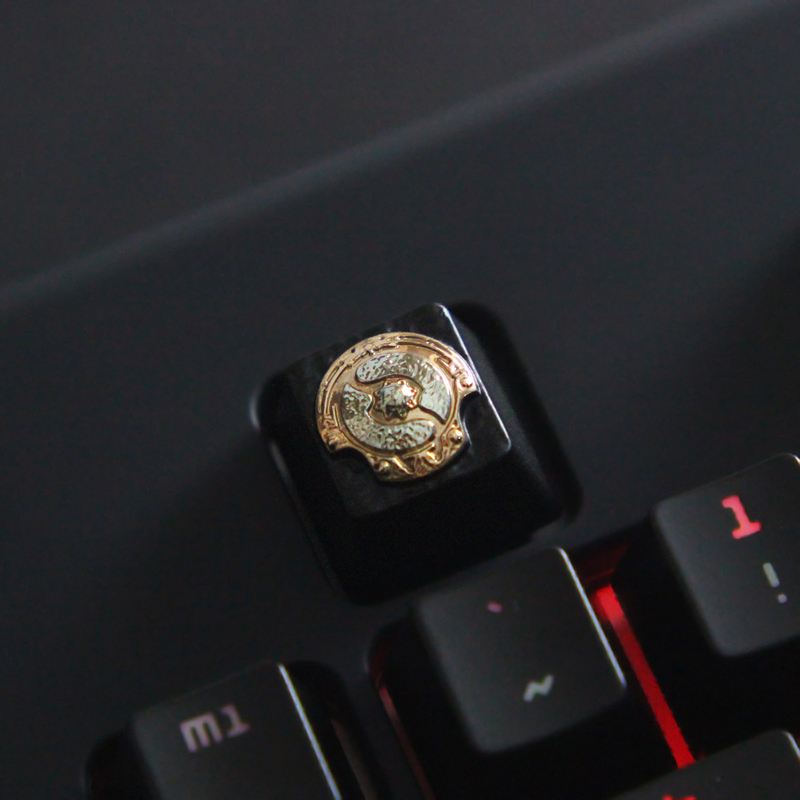 1pc zinc plated aluminum alloy ZNAL903 Key Cap for DOTA2 Aegis of the Immortal Mechanical Keyboard relief keycaps R4 Height