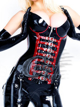 Pure natural Fashion Women Black and Red Rim Latex Zentai corset with knitting back and Hollow Deep V zip belt latex bodysuit