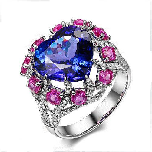 2017 Jewelry Anillos Qi Xuan_AAA Blue Stone Rings_Fashion Ring_S925 Solid Silver Blue Stone Rings_Manufacturer Directly Sales 2017 anillos jewelry qi xuan