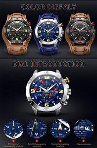 Image 5 - MEGIR Men Watch Top Brand Luxury Gold Chronograph Wristwatch Date Military Sport Leather Band Male Clock Relogio Masculino 2099