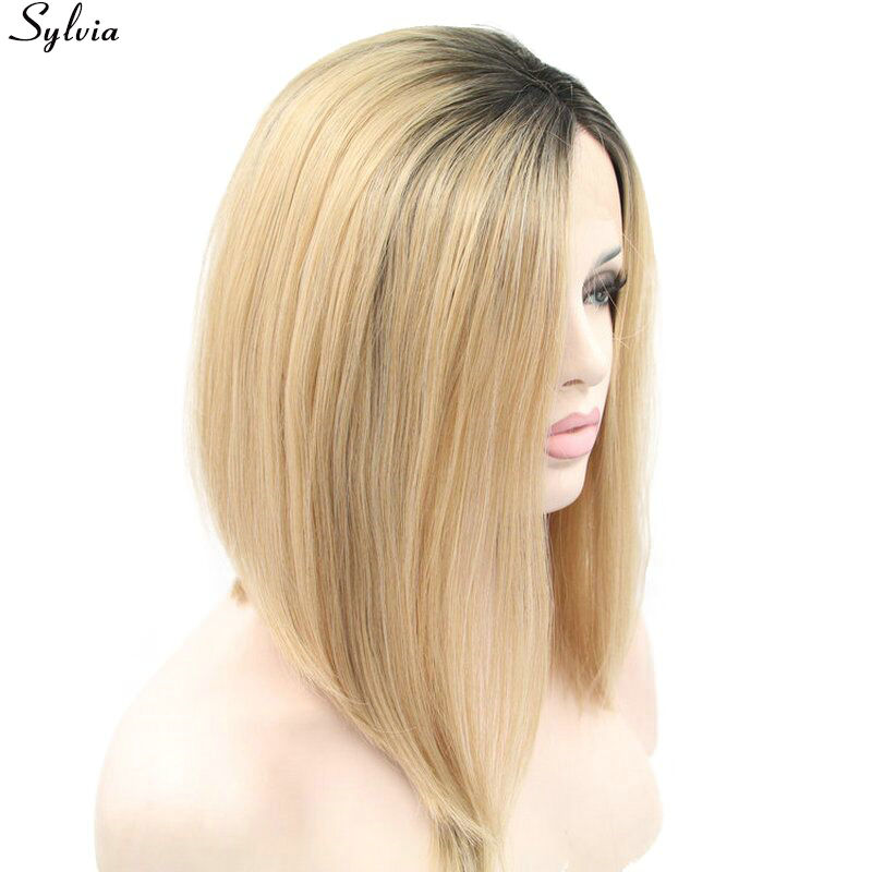 sylvia dark brown root ombre blonde bob wig synthetic lace front wigs for women (9)