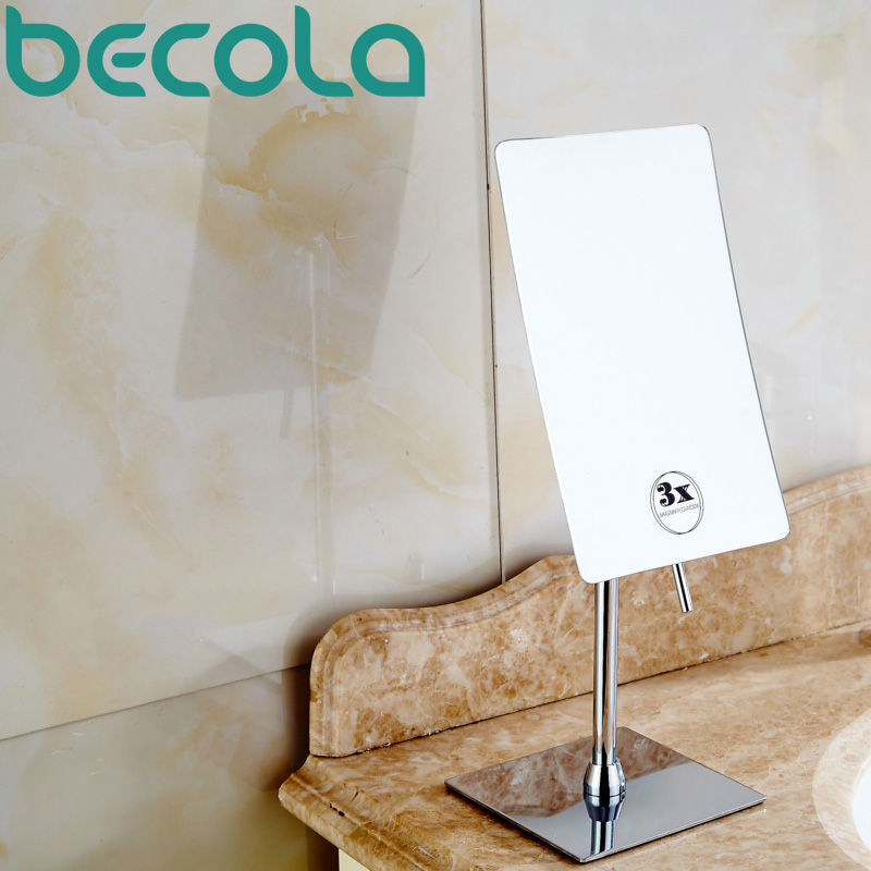 becola Square Float Bath Mirror 3X Magnifying Cosmetic Mirror Bathroom Single Sided Makeup Mirror B 928