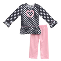 Cute Little Toddler Girl Fall Clothes Sets Polka Dots Embroidery Heart Top Pink Cotton Legging Kids Outfits For Valentine V016