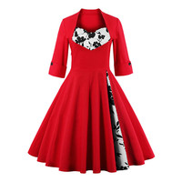 Newest Women Vintage Long Sleeve Rockabilly Dot Dress Elegant Retro 1950s Audrey Hepburn Vestidos Black Navy