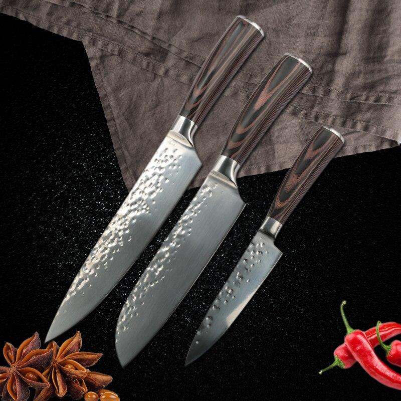 מטבח סכין 8 אינץ מקצועי יפני שף סכיני נירוסטה סכין סט פירות בשר Santoku סכין בישול אבזרים