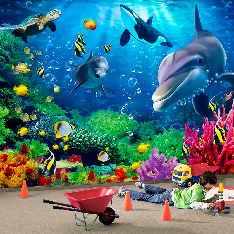 3D Wallpaper Personalized Customization Underwater World Dolphin Cartoon Children 3D Wall Mural Photo Wall Paper Papel De Parede