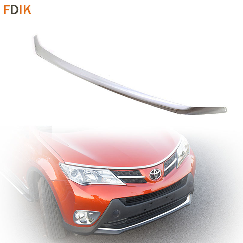 Sport ABS Mirror Chrome Front Bumper Molding Trim Cover Protector Garnish for Toyota RAV4 2013 2014 2015 цены