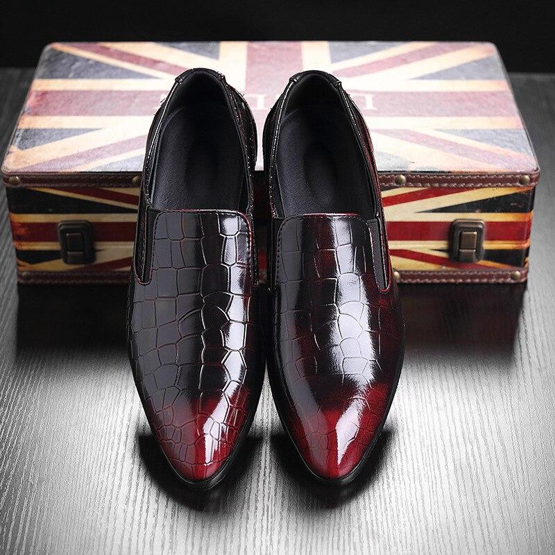 Casual 38 Robe Cuir Mode 48 Formelle D'affaires De rouge marron Noir Bureau Chaussures Mariage Confortable 2018 Hommes Appartements Travail En Plus fx1aWwA