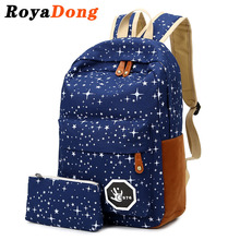 RoyaDong Women Backpack For Teenage Girls School Bags Rucksack Back Pack Canvas Cute Stars Printing Backpack Set For Children