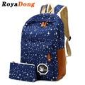 Royadong mujeres mochila para adolescentes niñas mochilas escolares mochila back pack mochila de lona lindo estrellas impresión de conjunto para los niños