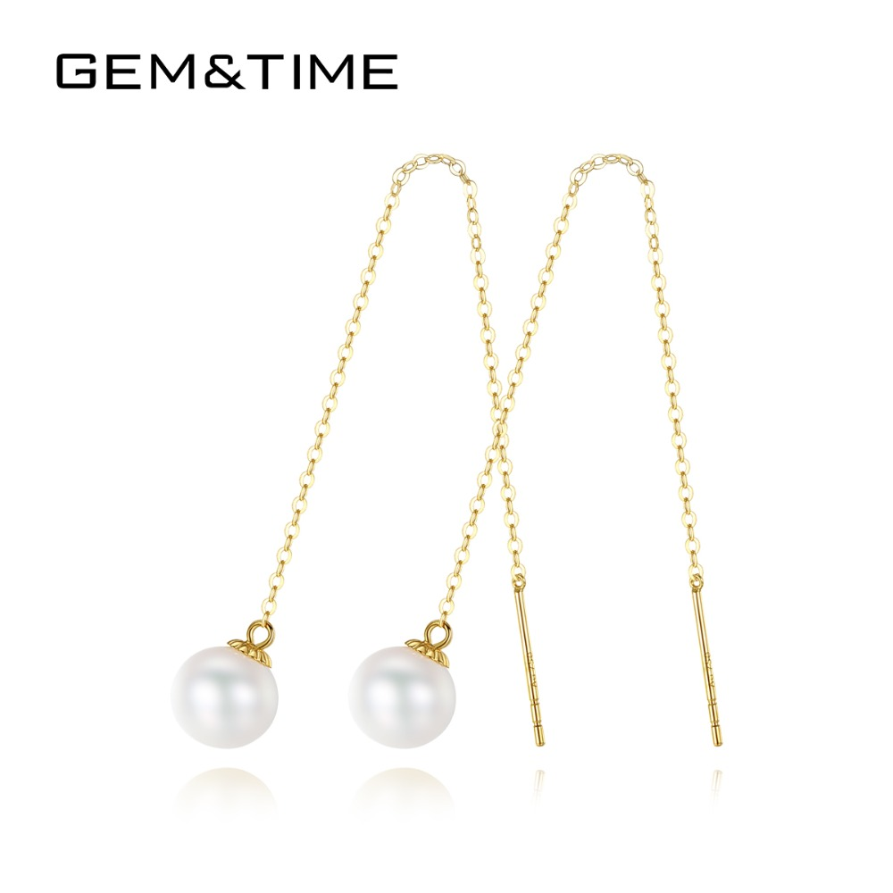 Gem&Time 7mm Real Freashwater Pearls Tassle Earrings For Women Pure 14K Gold Long Chain Drop Earrings Fine Jewelry GE0002(China)