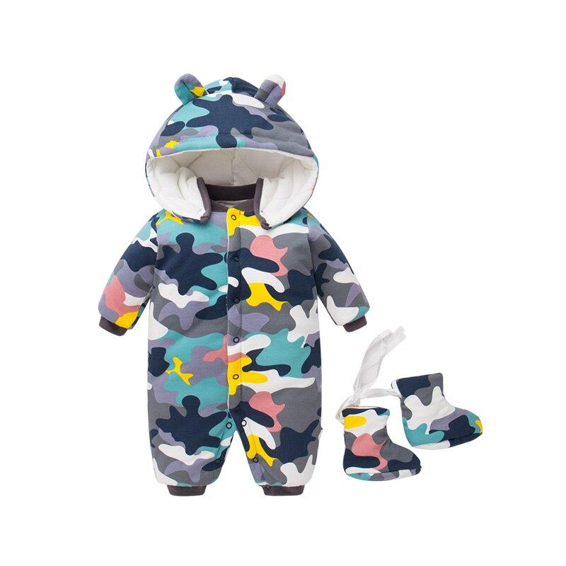 2018 automne nouveau-né bébé coton body bébé fille une pièce veste garçon hiver coton manteau avec chaussures 0-12 M