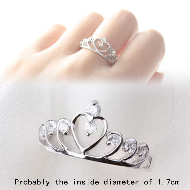 2017 Trendy Rhinestones Inlaid Hollow Out Heart Crown Shaped Gold Silver Plated Woman Ring