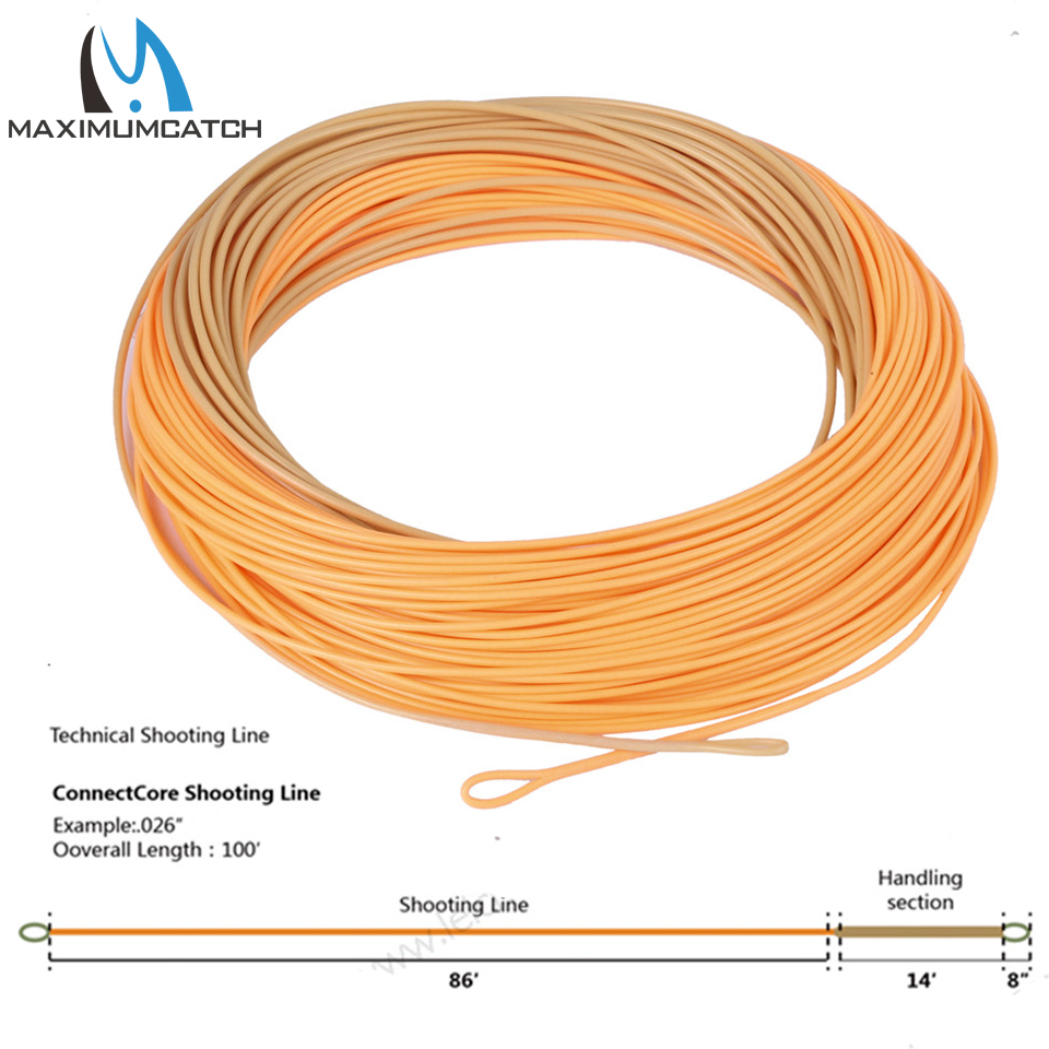 Maximumcatch Connect Core Shooting Line 100ft Straw/Orange 30lb Floating Weight Forward Fly Fishing Line with 2 Welded Loops forward timba boy 13 2016 orange
