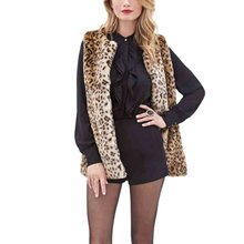 YO Women's Slim Plus Size Faux Fur Vest Casual Leopard Print Covered Button Faux Fur Gilet Sleeveless Warm Fur Vest