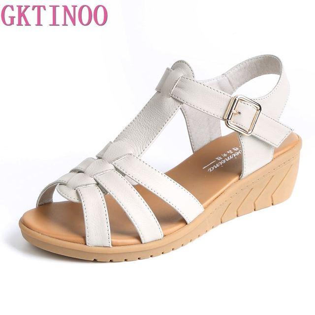 GKTINOO 新夏の古典的な革ウェッジサンダルの女性グラディエーターサンダル女性プラットフォーム靴 Sandalias Mujer