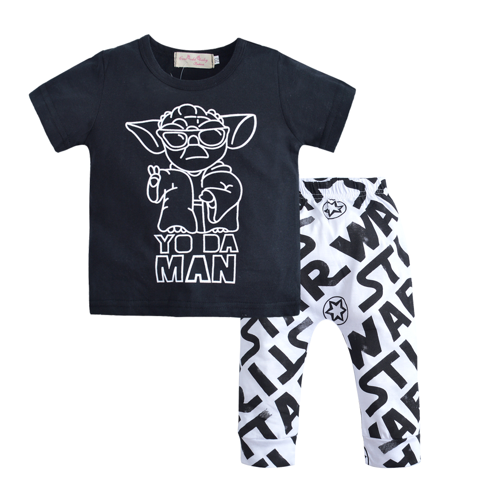 2018 summer fashion baby boy clothing set short sleeve black baby boys clothes star wars t-shirt+pants newborn 2pcs suit star wars boys black