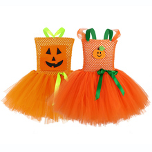 Orange Kids Girls Tutu Dress Halloween Pumpkin Light Pattern Knee Length Dresses Costume for Princess