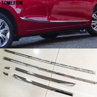 TOMEFON Car Styling Auto ABS Chrome Side Door Body Moulding Sill Trim Sticker Decoration 6Pcs For