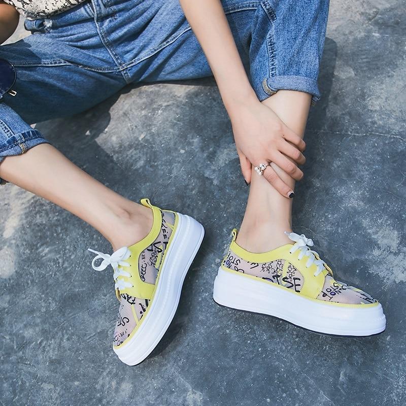 EGONERY รองเท้าผู้หญิง 2019 ฤดูร้อนใหม่แฟชั่นของแท้หนังตาข่ายผู้หญิงแฟลตภายนอกรองเท้าส้นสูงแพลตฟอร์มข้ามผูกสุภาพสตรีรองเท้า-ใน รองเท้าส้นเตี้ยสตรี จาก รองเท้า บน   2