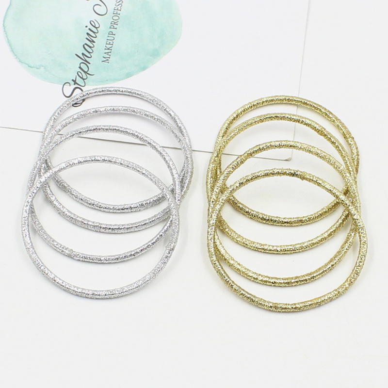 20Pcs/Lot Gold And Silver Shiny Elastics Rubber Bands Hair Circle Colored Child Hair Bands Girl Women Fashion Hair Accessories