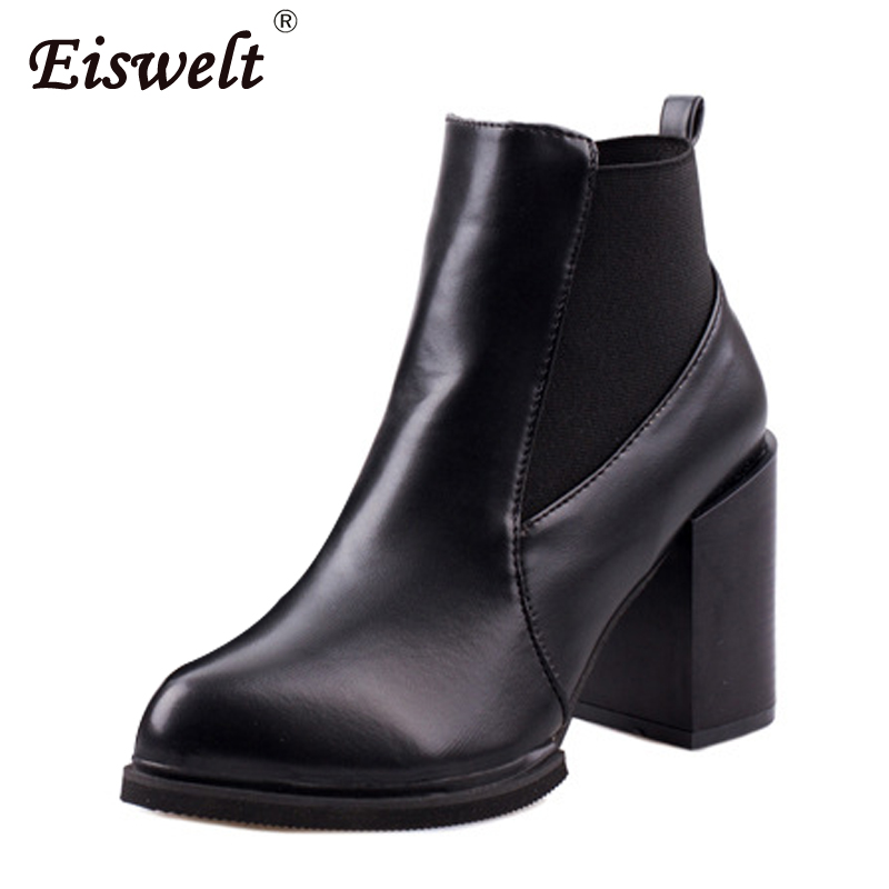 EISWELE Women Boots 2017 Female Leather Ankle Boots High Heels Fashion Black Slip on Shoes Chelsea