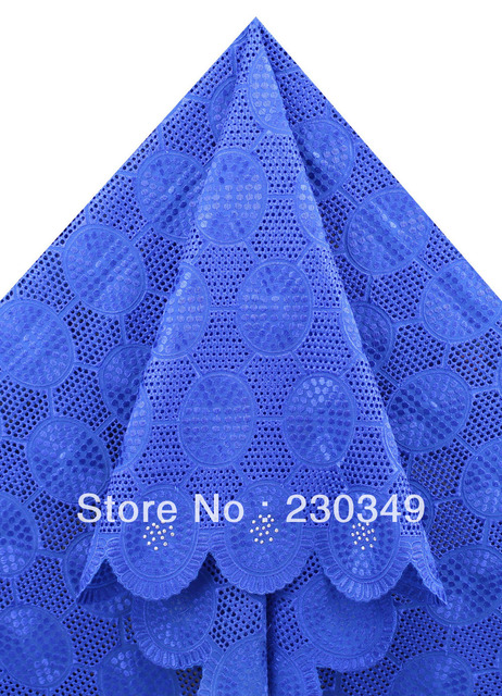 Free Shipping+Cotton voile with stones,Swiss voile lace, African lace , cotton lace,5yards/piece, BIG LACE,ROYAL BLUE