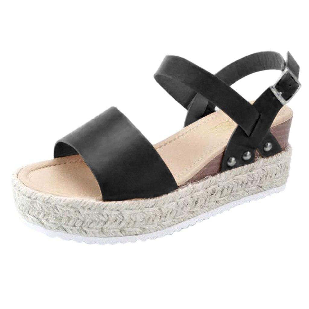 Sandals Buckle-Strap Wedges Platform High-Heel Peep-Toe Fashion Women Summer Height 23