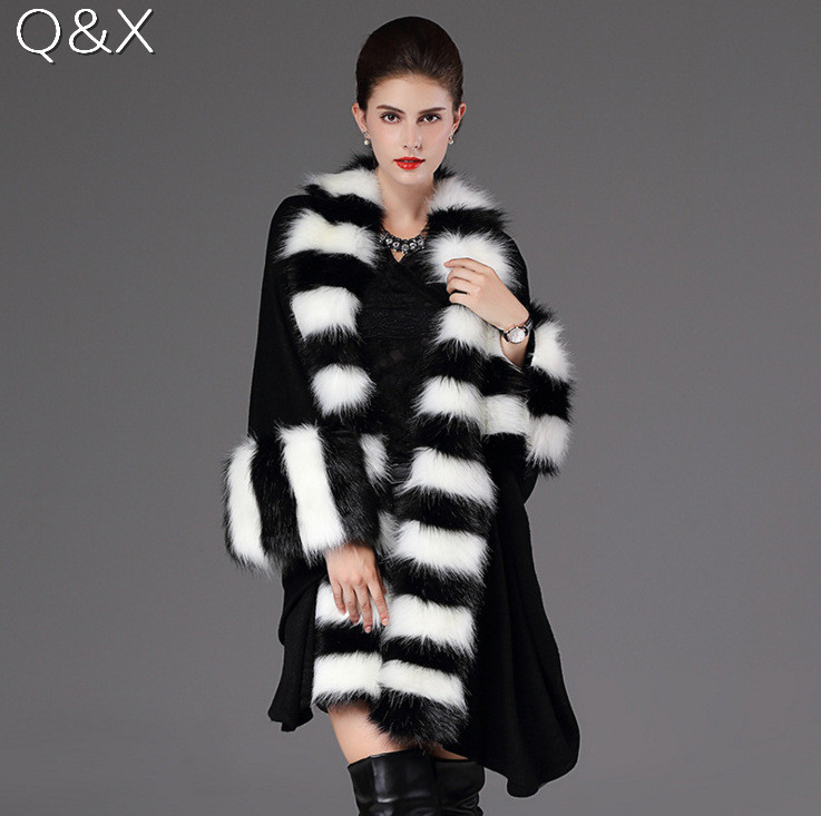 SC63 Women Party Overcoat Cloak High 2018 Long Winter Imitation Raccoon Fur Collar Knitted Cardigan Cape Cashmere Poncho Shawl