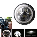 7 INCH H4 H/L Motorcycle LED Headlight with halo ring DRL angle eye For Harley