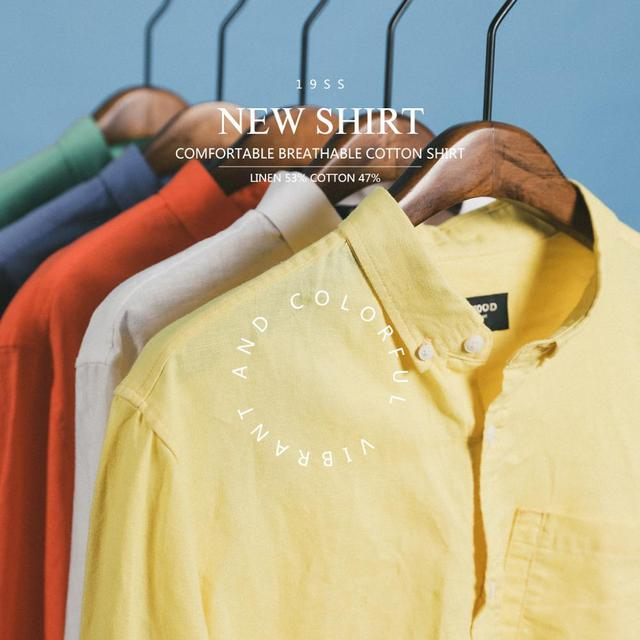 Men's Long Sleeve Shirts Pure Linen Cotton Cool Breathable Classic Basic