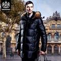 2016 nuevo invierno chaqueta de los hombres de largo abajo abrigo de cuello de piel de mapache los hombres trajes de negocios negro abajo abrigo parka gruesa abajo chaqueta de los hombres